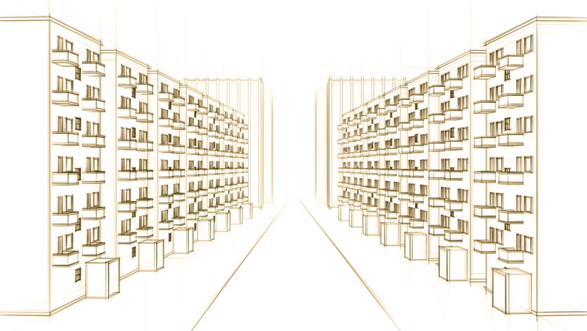 852x480 Architecture Drawing Of Living Street In A City, On White
