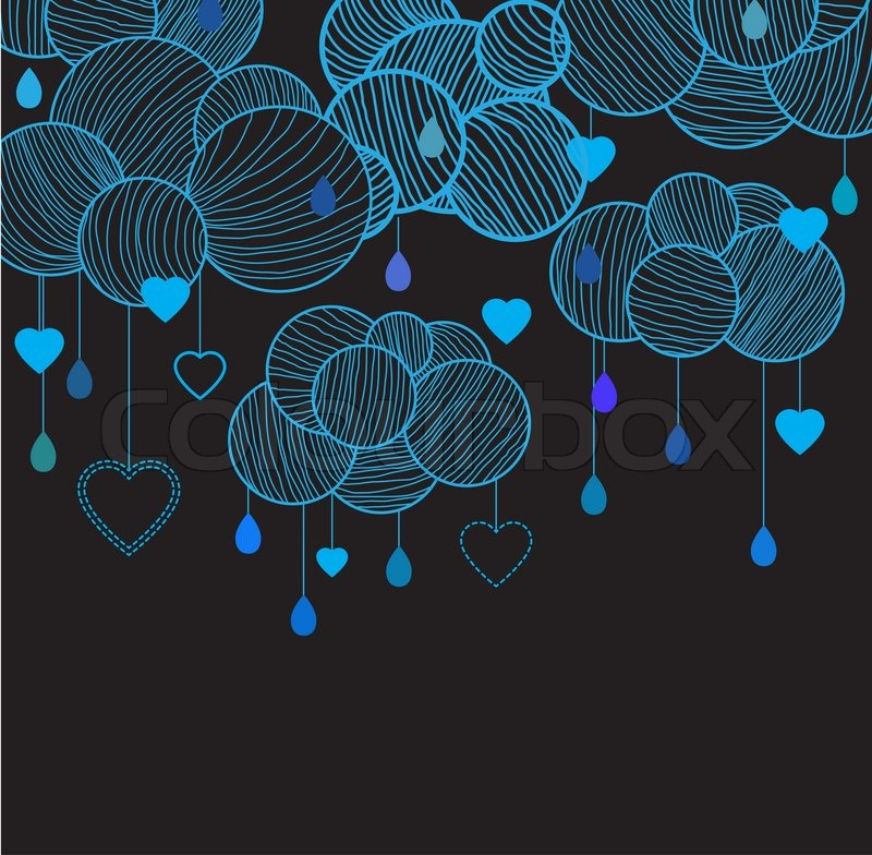 800x784 Cute Background With Hand Drawing Blue Clouds Stock Photo