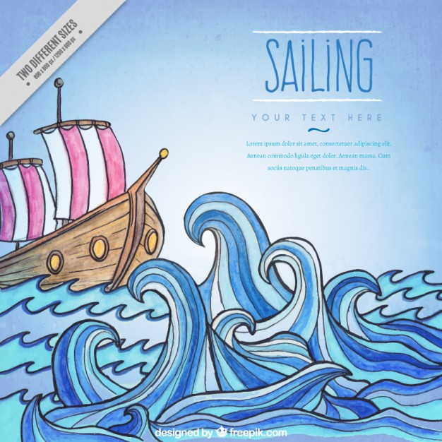 626x626 Hand Draw Boat In The Ocean Background Vector Free Download