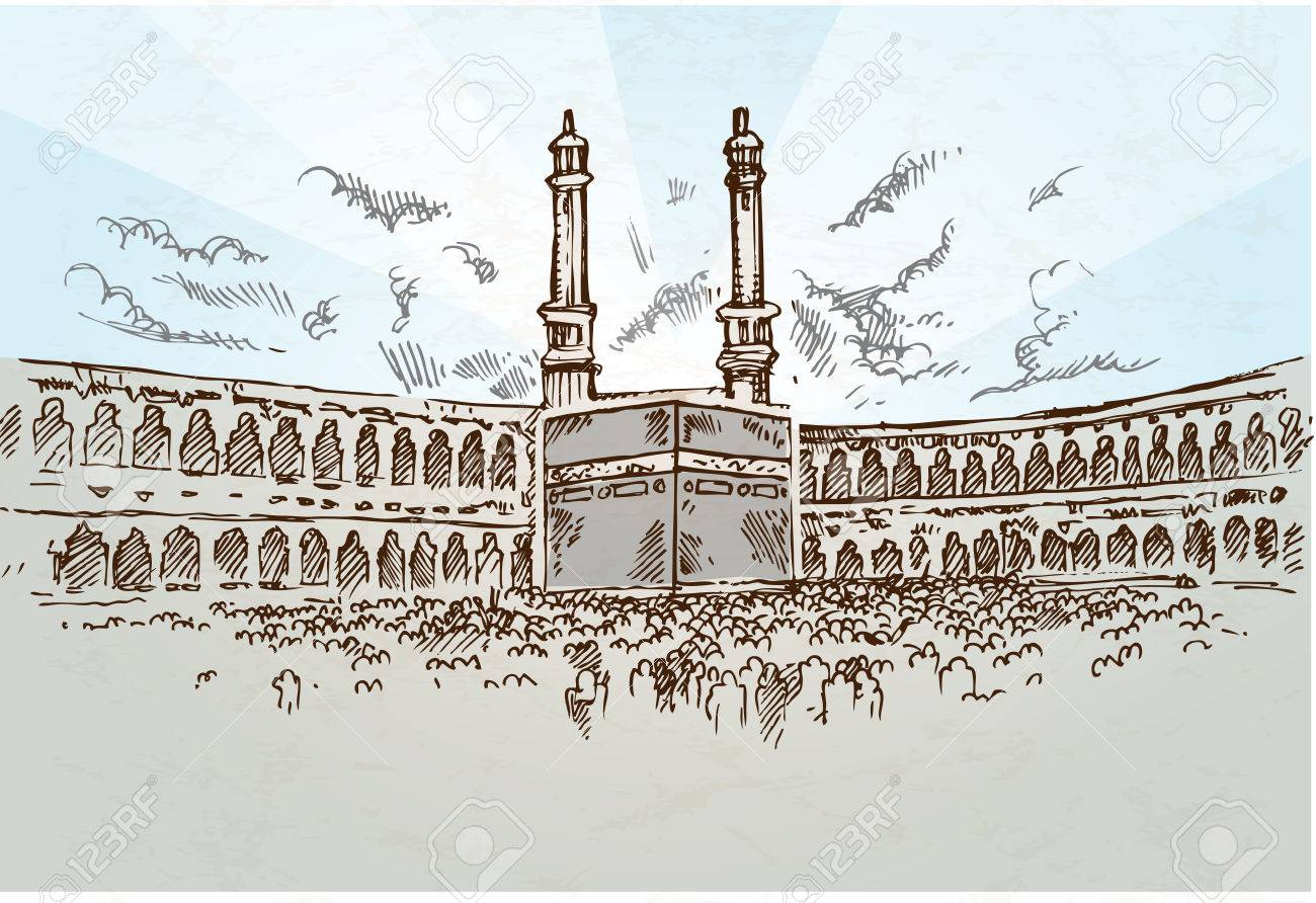 1300x892 Mecca Background Drawing Hand Drawn Royalty Free Cliparts, Vectors