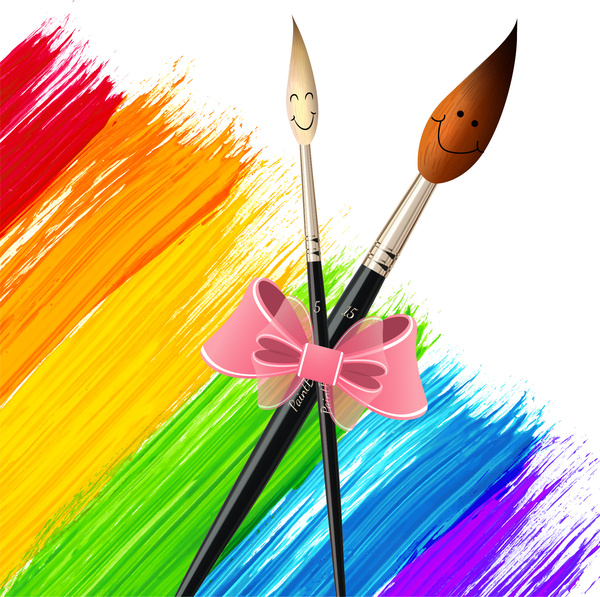 600x597 Paintbrush Drawing Tool Colorful Background Free Vector In Adobe