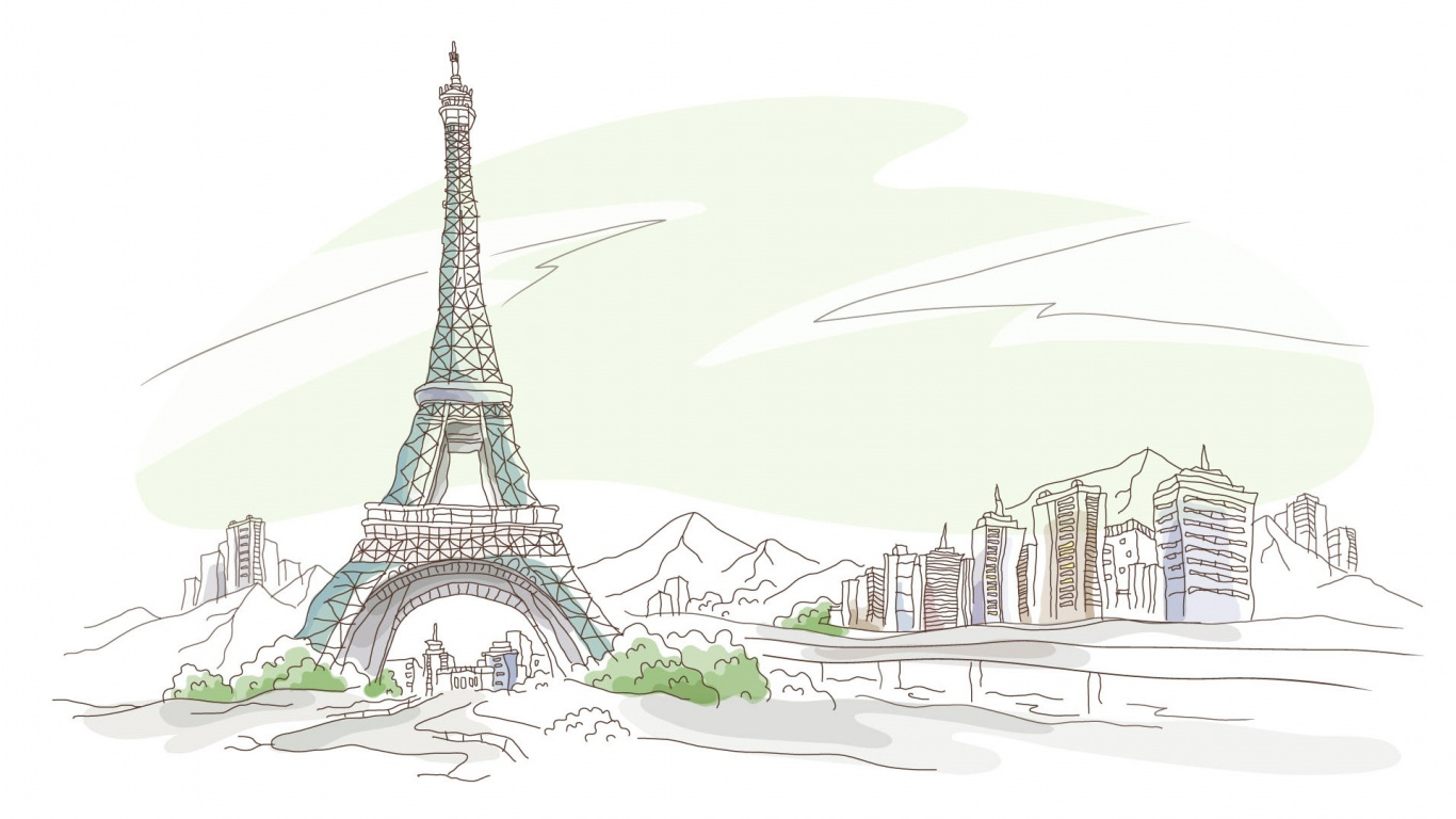 1366x768 Paris Pen And Pencil Drawing Wallpaper Hd Widescreen