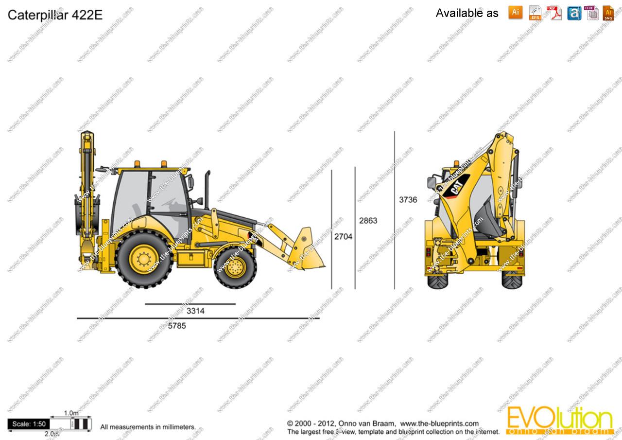 1280x905 Caterpillar 422e Backhoe Loader Vector Drawing