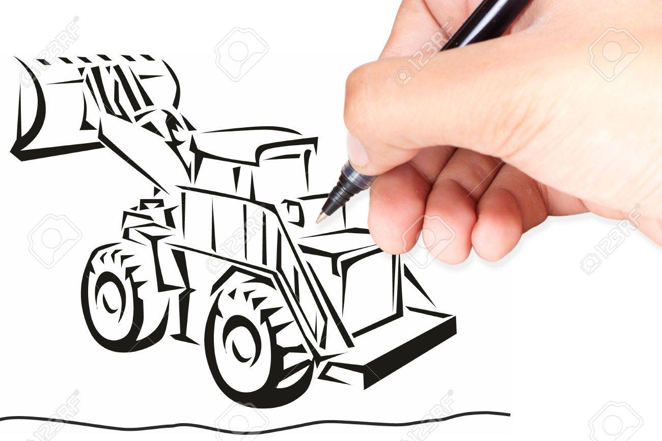 1300x866 Hand Isolated On White With Clipping Path Drawing A Excavator