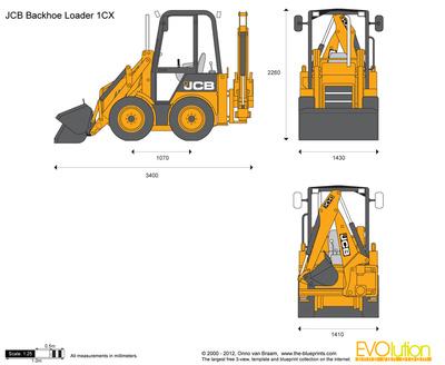 400x328 Jcb 1cx Backhoe Loader Vector Drawing