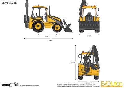 400x283 Volvo Bl71b Backhoe Loader Vector Drawing