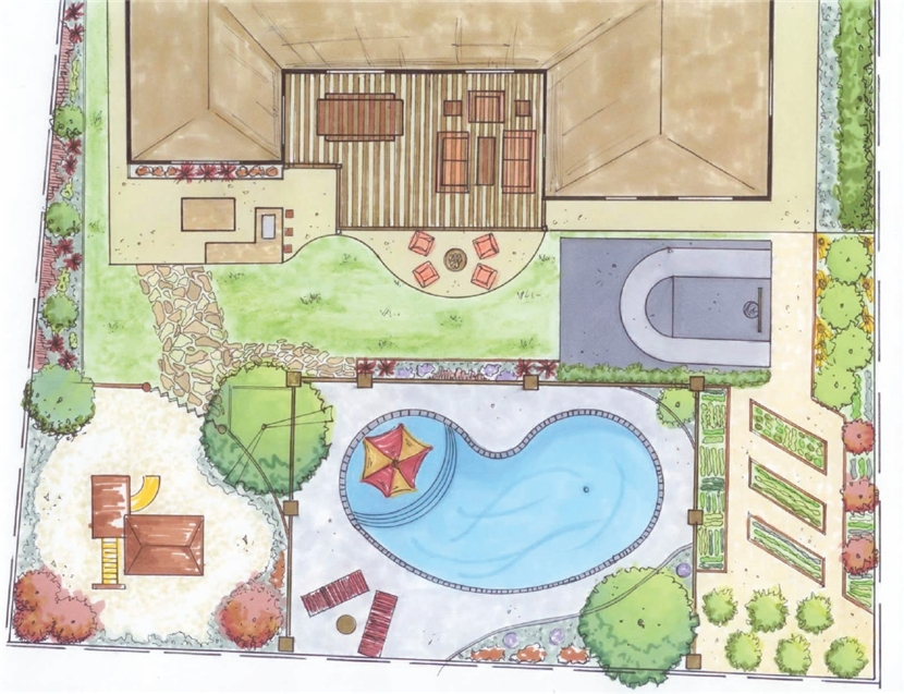 830x637 Backyard Design Drawings Outdoor Furniture And Ideas