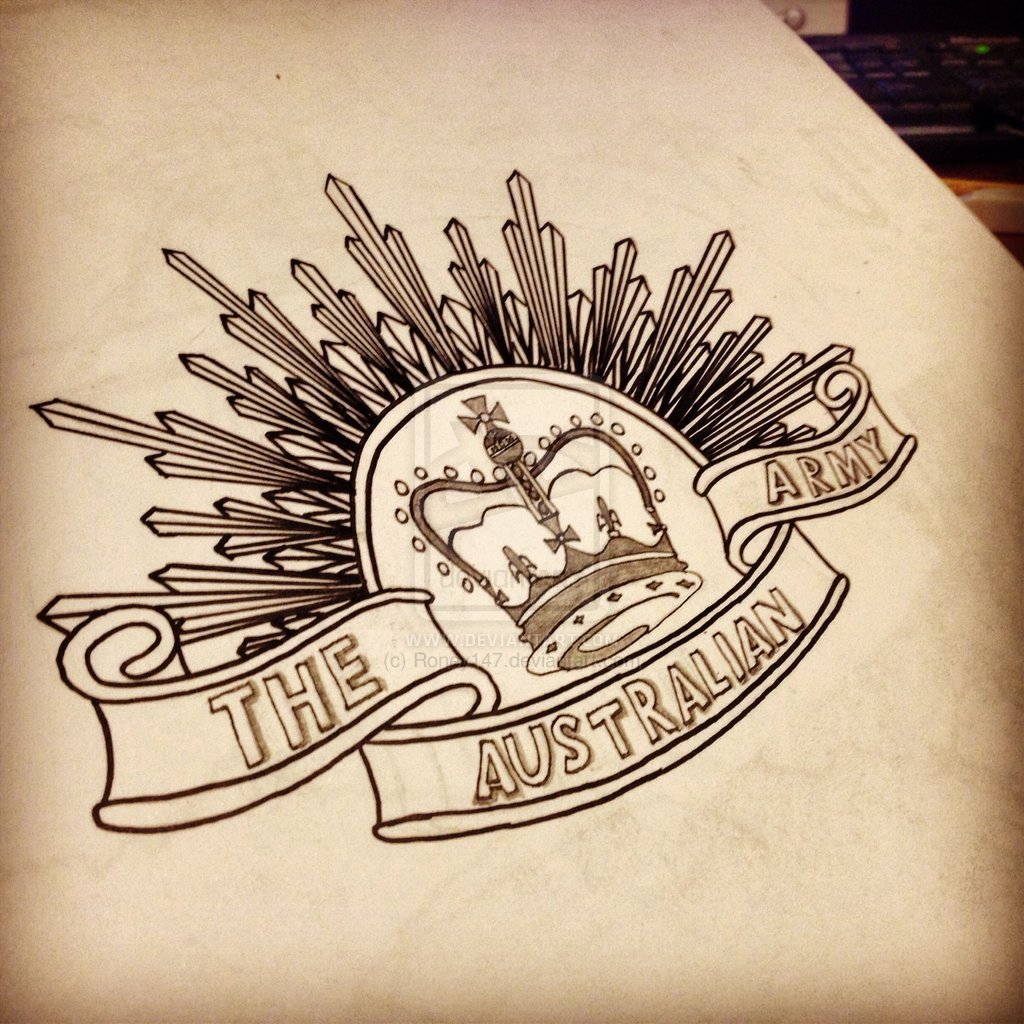 1024x1024 Australia Anzac Badge Drawing By Roney147 Tattoo Ideas