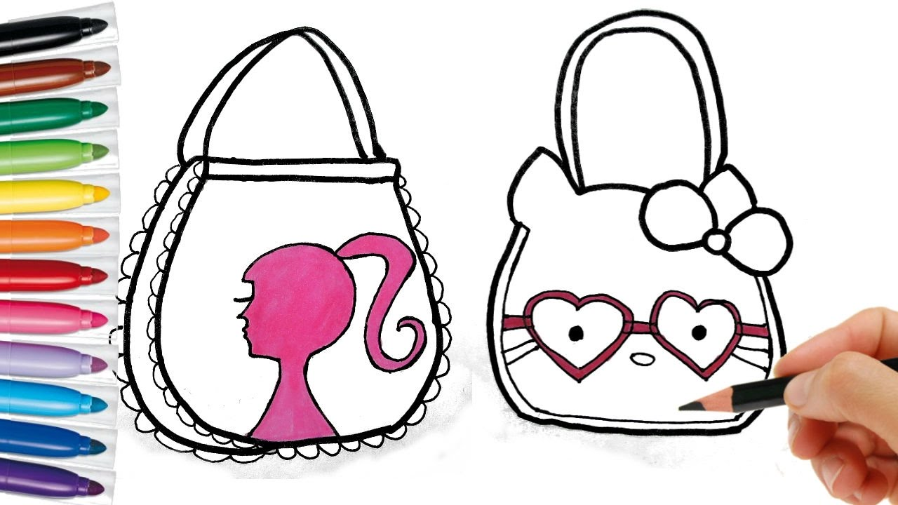 1280x720 Drawing Bag For Girls. Learning Coloring Page For Kids Colored