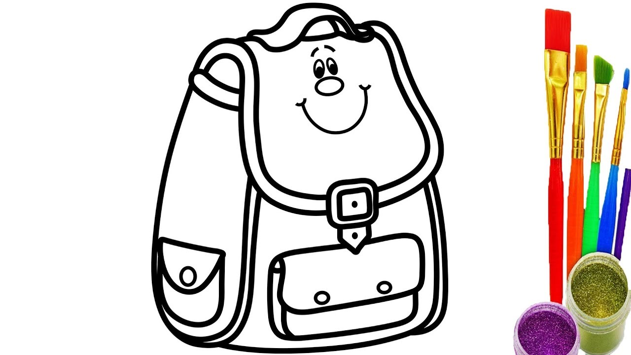 1280x720 How To Draw School Bag Kids Coloring Pages Videos