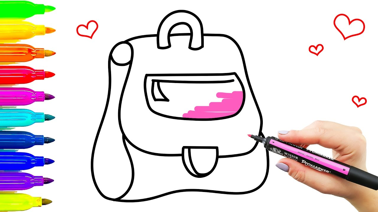1280x720 School Bag Drawing For Kids Coloring Pages With Colored Markers
