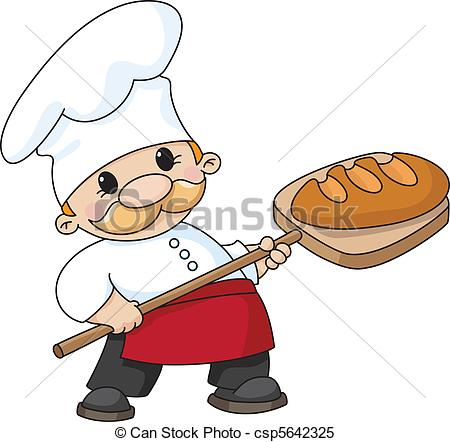 450x442 An Illustration Of A Baker With Bread Clipart Vector