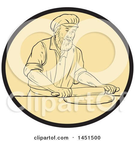 450x470 Clipart Graphic Of A Drawing Sketch Styled Medieval Baker Rolling