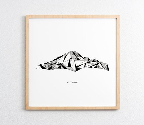 570x493 Mt. Baker Washington Polygonal Mountain Drawing Art Print