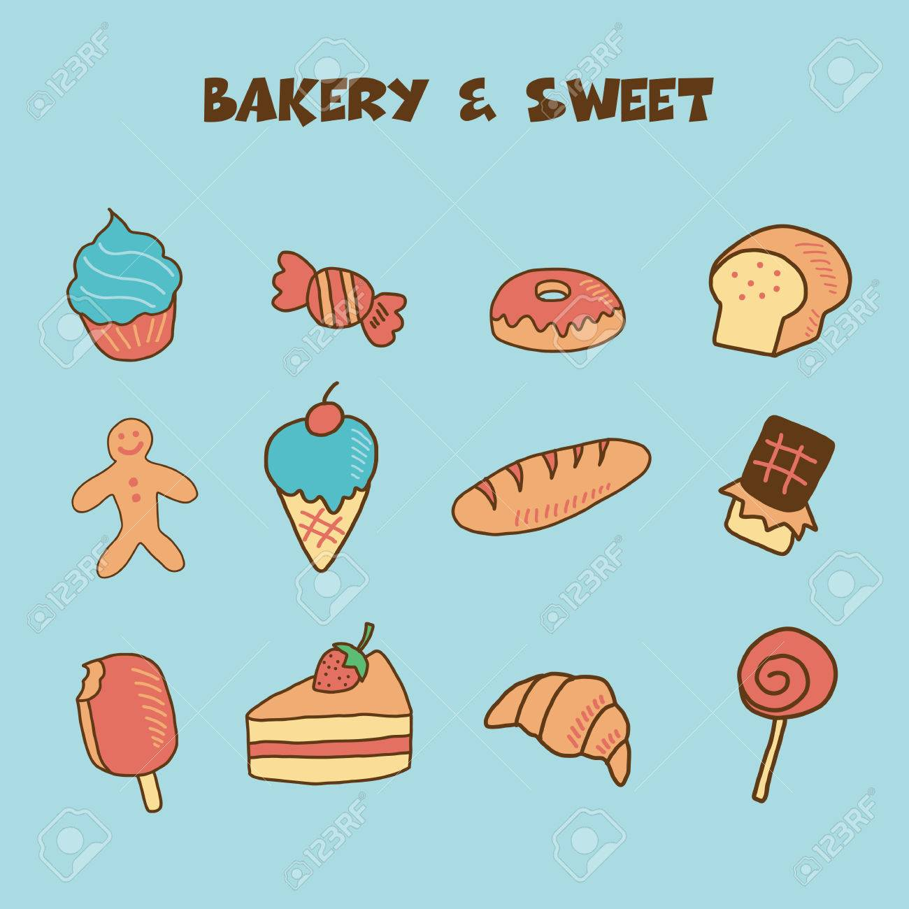 1300x1300 Bakery And Sweet Icon, Doodle Hand Drawing Style Royalty Free