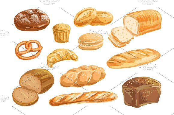 580x386 Bread And Bakery Product Watercolor Drawing Set Watercolor