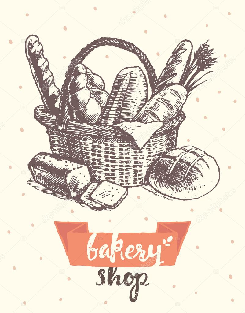 802x1023 Draw Vintage Vector Basket Fresh Bread Bakery Shop Stock Vector