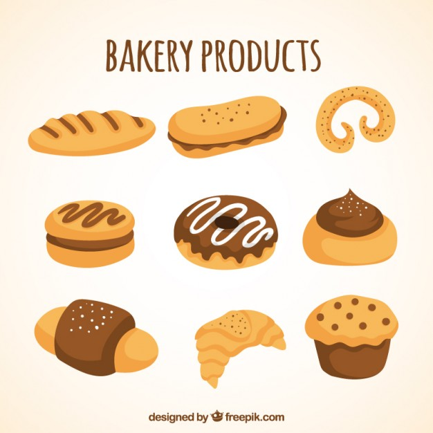 626x626 Drawing Bakery Product Collection Vector Free Download
