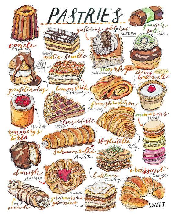 570x713 Pastries Print. Bakery. Kitchen Decor. Food Illustration. Sweet