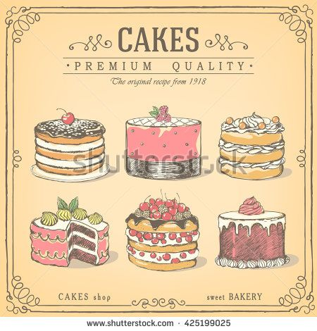 450x470 Set Of Hand Drawn Cakes. Bakery Sweet Shop. Vector Icons Of Cakes