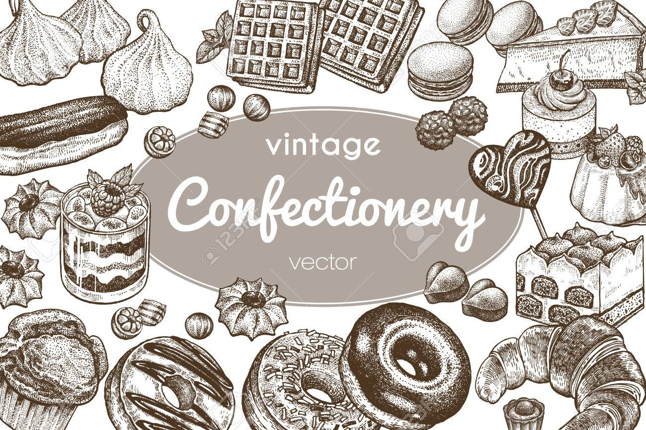 1300x866 Sweets And Bakery Set. Hand Drawing On A White Background. Vintage