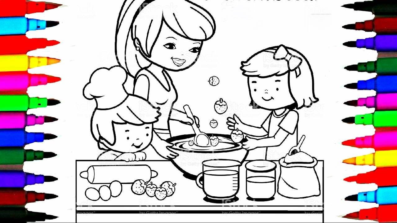 1280x720 Coloring Pages Kitchen L Mommy Baking With Boy And Girl Drawing