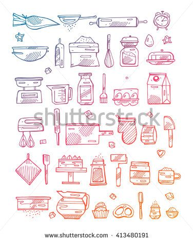 376x470 I Love Cooking. Kitchen Utensils Collection.bakery Kitchen Cooking