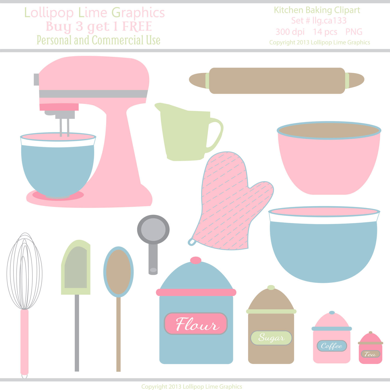 1500x1500 Kitchen Pastel Pink Mixer Bowls Utensils Vector Illustration