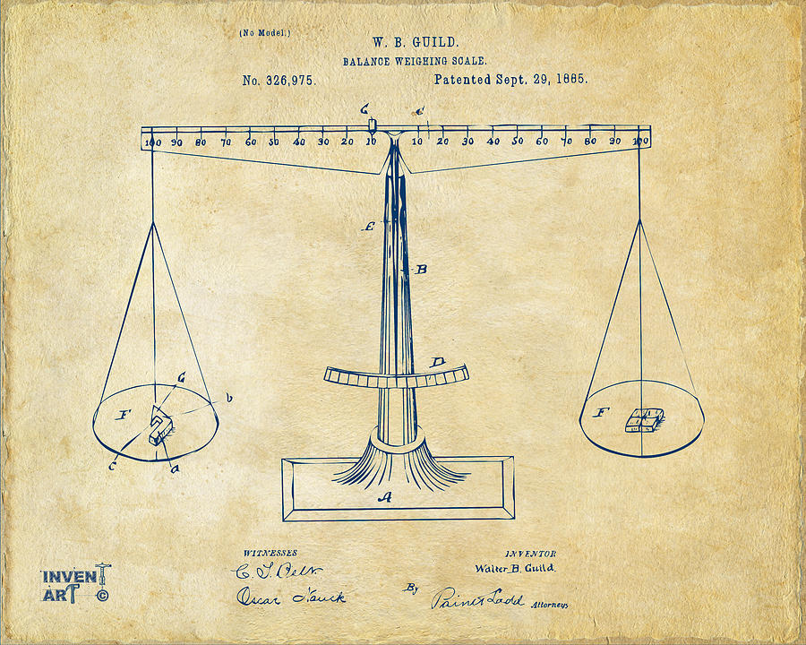 900x720 1885 Balance Weighing Scale Patent Artwork Vintage Digital Art By