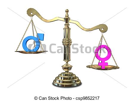 450x338 Gender Inequality Balancing Scale. A Gold Justice Scale