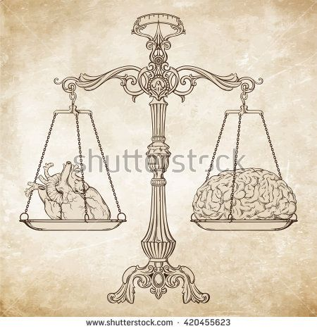 450x470 Vector Illustration Antique Ornate Balance Scales With A Heart
