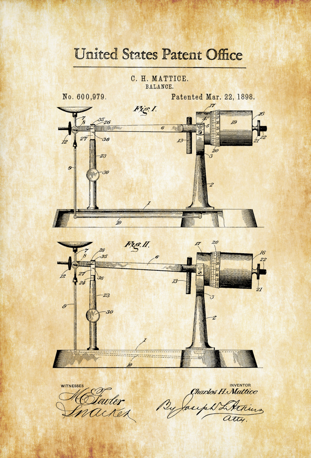 1021x1500 Weight Scale Patent 1898 Patent Print, Vintage Tools, Industrial
