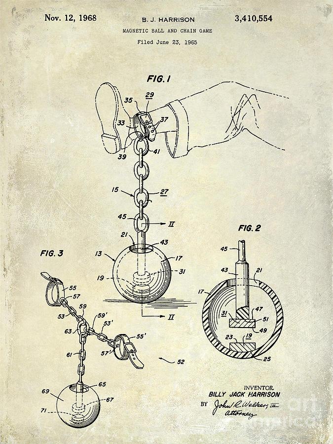 675x900 Ball And Chain Patent Drawing Photograph By Jon Neidert