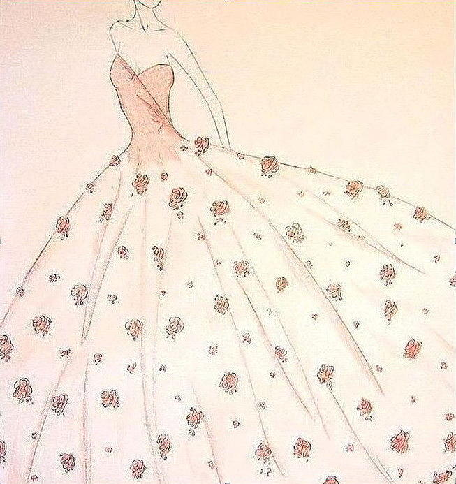 653x693 Rose Ball Gown Drawing By Christine Corretti
