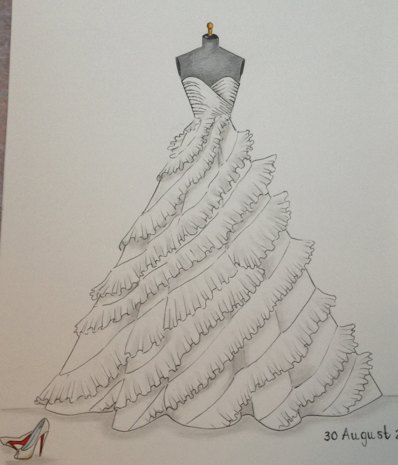 1283x1500 Custom Wedding Dress Sketch Bride Shoes And Wedding Date By Zoia