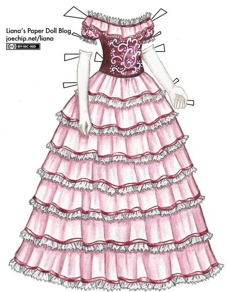 455x578 Pink 1860s Ball Gown With White Scroll Pattern Liana's Paper Dolls