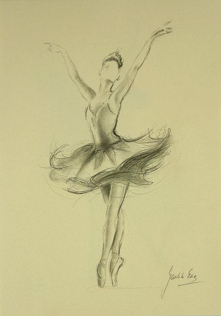 450x644 Original Pencil Drawing 12 X 8 On Cream Paper Of Ballerina By Ewa
