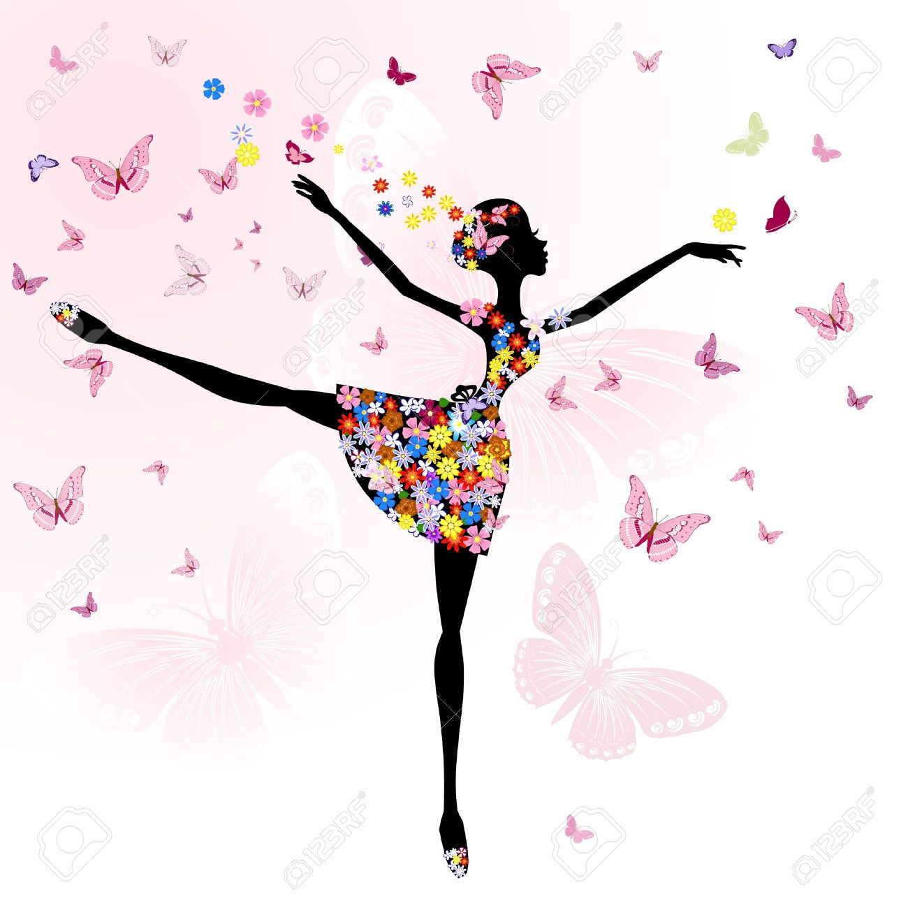 1300x1300 Ballerina Girl With Flowers With Butterflies Royalty Free Cliparts