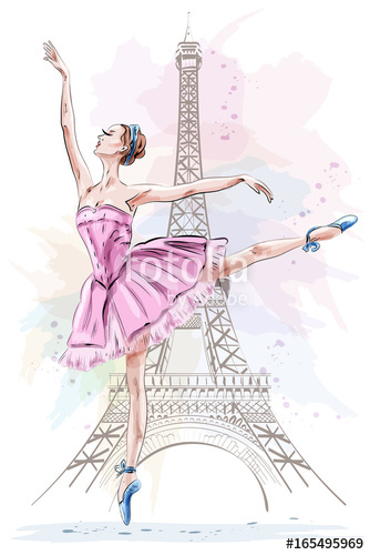 334x500 Beautiful Ballerina Posing And Dancing On Eiffel Tower Background