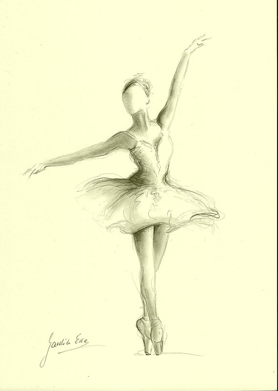 570x799 Original Pencil Drawing 12 X 8 On Cream Paper Of Ballerina By Ewa