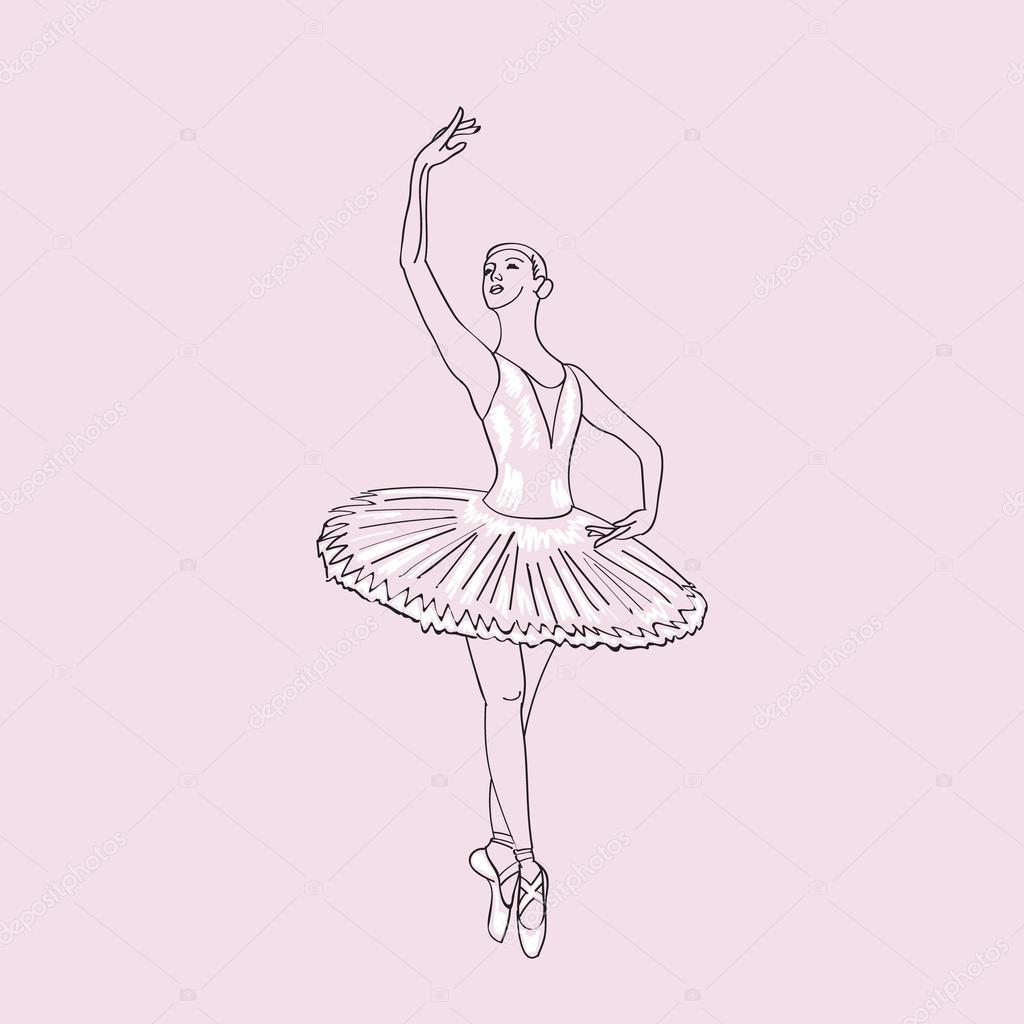 1024x1024 Hand Drawn Sketch Of Young Ballerina Vol.2. Stock Vector