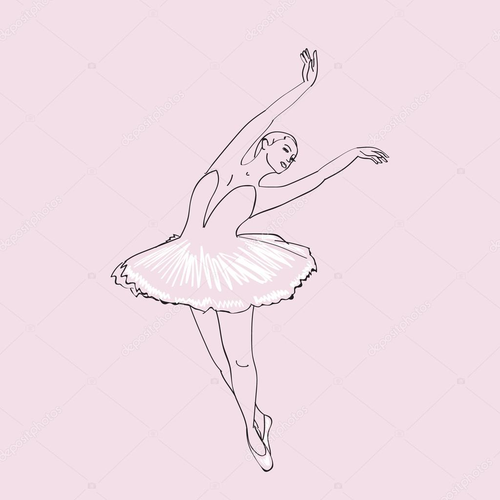 1024x1024 Hand Drawn Sketch Of Young Ballerina Vol.4. Stock Vector