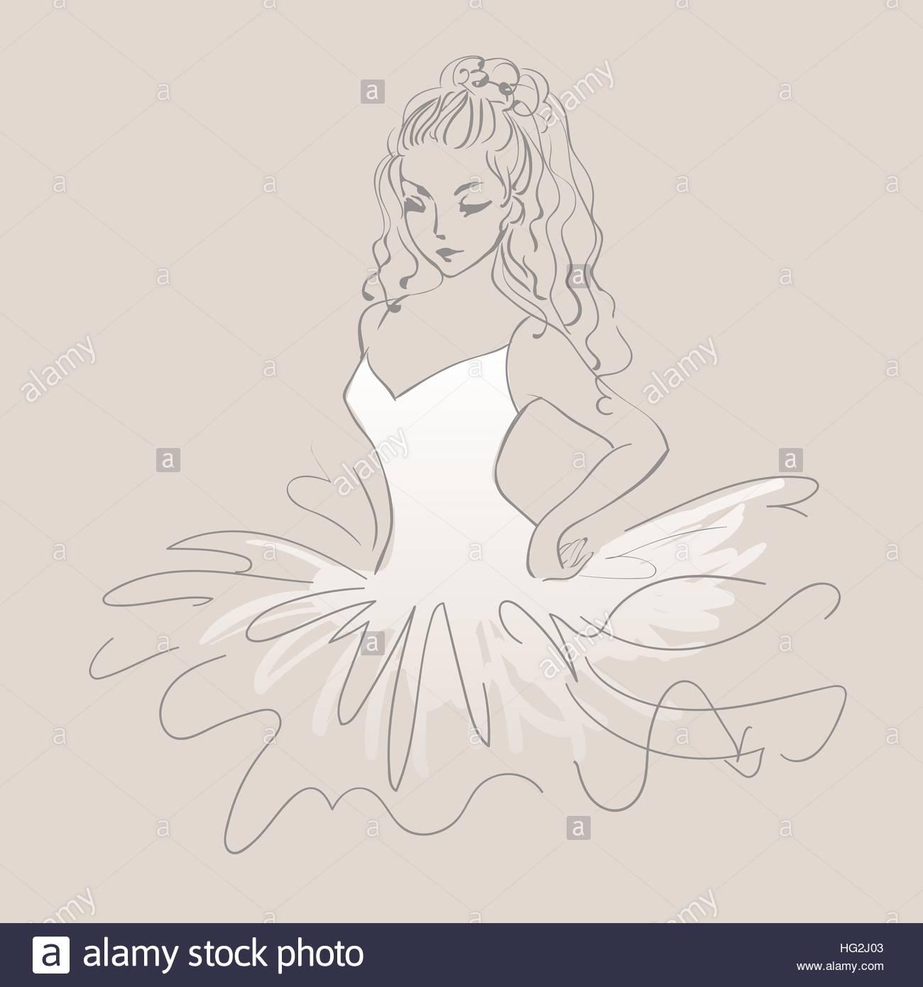 1300x1390 Sketch Of Ballerina. Expressive Performance Girl Ballet Drawing