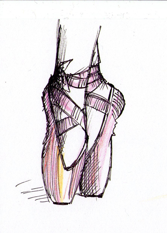 533x742 Ballet Shoes Drawing The Daily Doodles Of Kitteh Mia