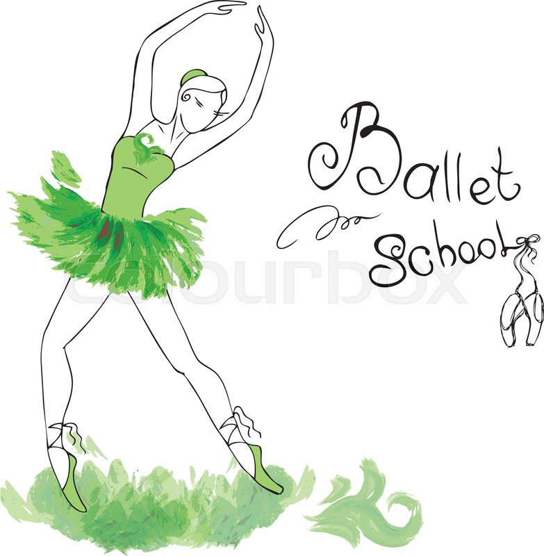 783x800 Ballet Dancer, Drawing In Watercolor Style, Vector Illustration