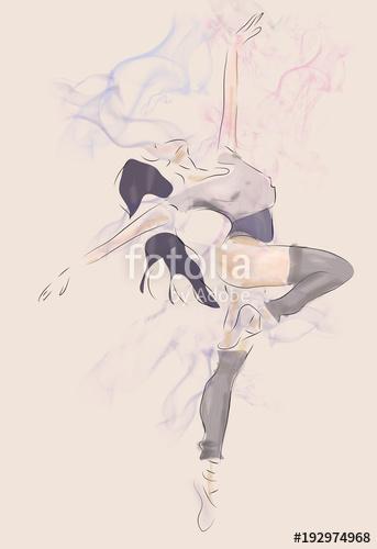 343x500 Ballerina Drawing. Modern Ballet Dance Performer Stock Photo