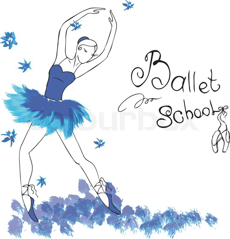 770x800 Ballet Dancer, Drawing In Watercolor Style, Vector Illustration