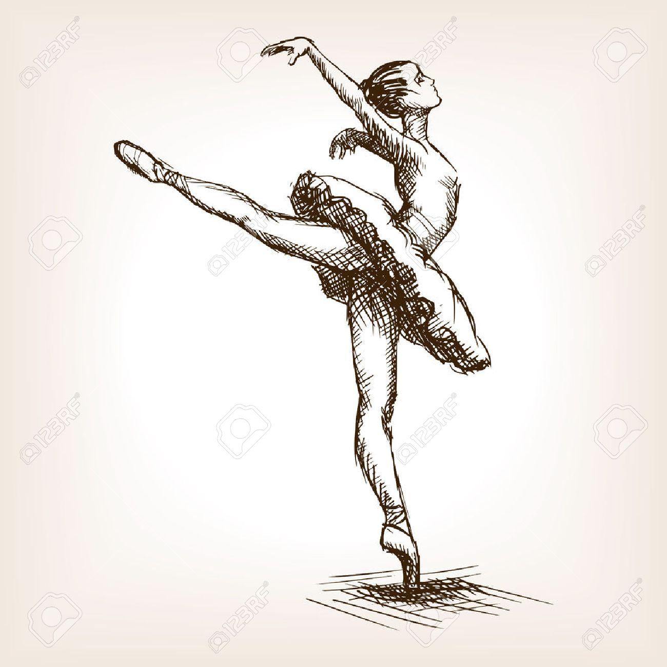 1300x1300 Ballet Dancer Girl Sketch Style Vector Illustration. Old Hand