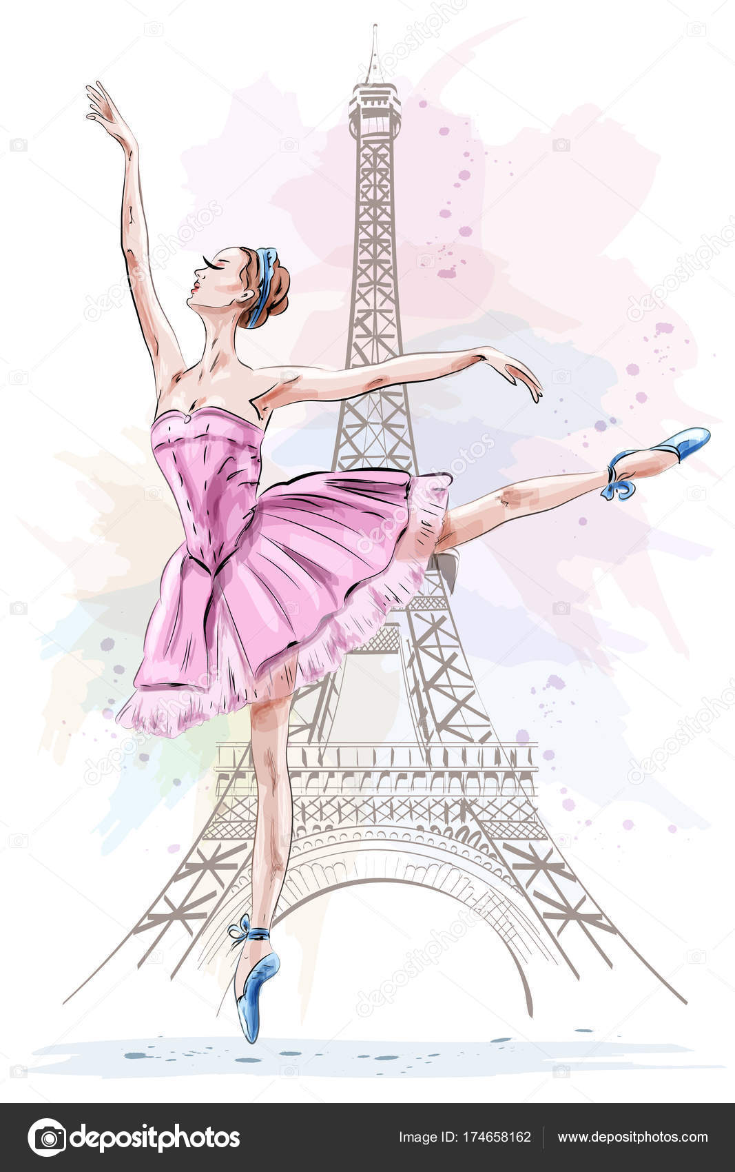 1067x1700 Beautiful Ballerina Posing And Dancing On Eiffel Tower Background