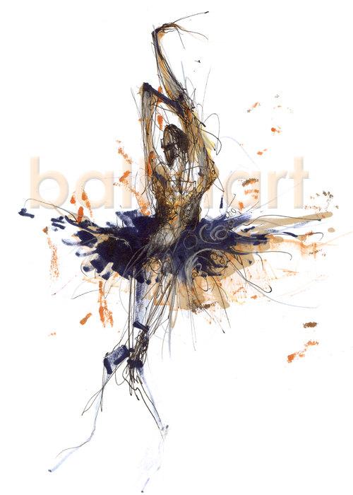 500x700 Bolshoi Ballet Dancer Art Print Hand Drawing Cobalt